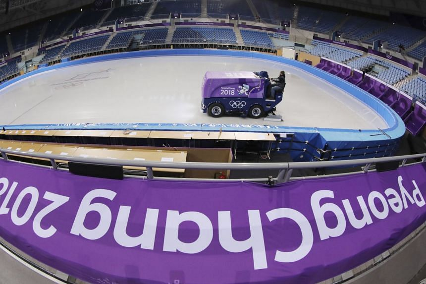 An ice resurfacer cleaning the ice at the Gangneung Ice Arena ahead of the Pyeongchang Winter Olympics.