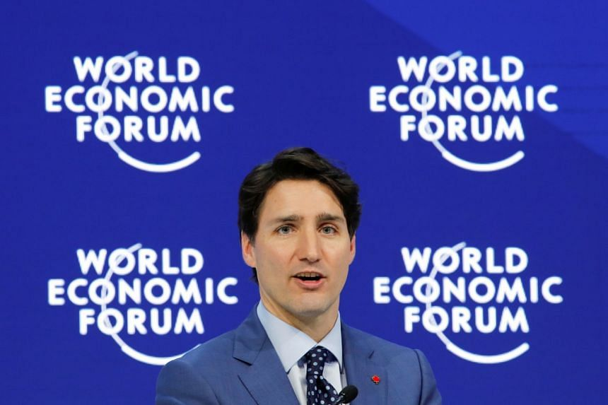 Trudeau speaking during the World Economic Forum annual meeting.