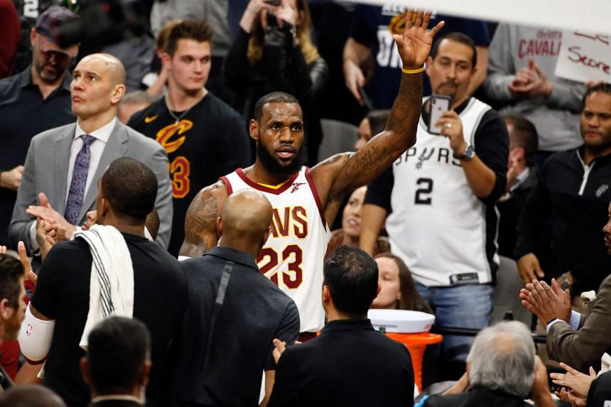 Cleveland Cavaliers small forward LeBron James acknowledging the crowd's cheers during a time-out after scoring his 30,000th career point against the San Antonio Spurs at AT&T Centre on Jan 23, 2018. The Spurs won 114-102.