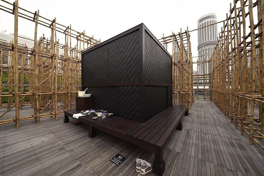 Thai artist Rirkrit Tiravanija designed untitled 2018 (the infinite dimensions of smallness), a small, air-conditioned bamboo tearoom set in a bamboo maze at National Gallery Singapore.