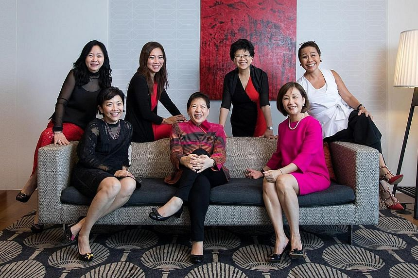 Chief financial officer Yiong Yim Ming (left) and chief sustainability officer Esther An are part of CDL's senior management. The women on DBS' group management committee, who make up 30 per cent of its members, are (from left) Ms Eng-Kwok Seat Moey,