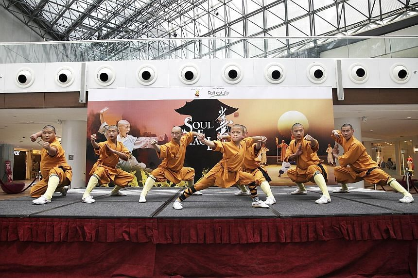 The cast of Soul Of Shaolin: Hui Guang's Story demonstrating their gongfu skills.
