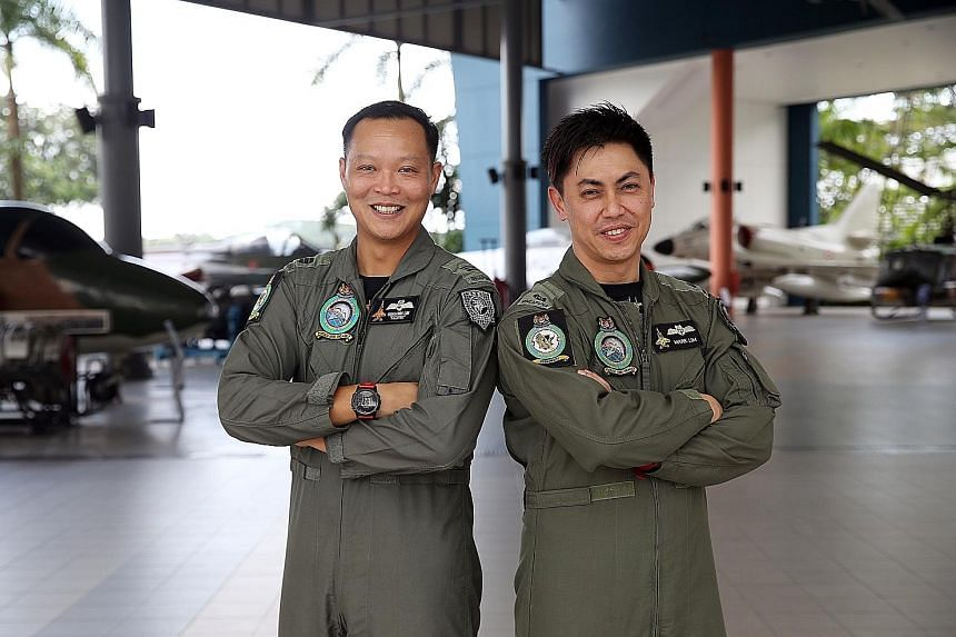 Captain Benjamin Lim (left) and former major Mark Lim at the air force museum in Paya Lebar last week. They were called to intercept an aircraft with possibly hostile intentions during a 2008 mission.