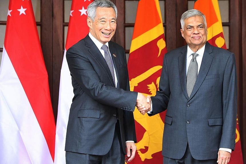 PM Lee meeting Sri Lankan Prime Minister Ranil Wickremesinghe. PM Lee noted that the current Sri Lankan government is on a path of economic liberalisation and wants more trade and investments.
