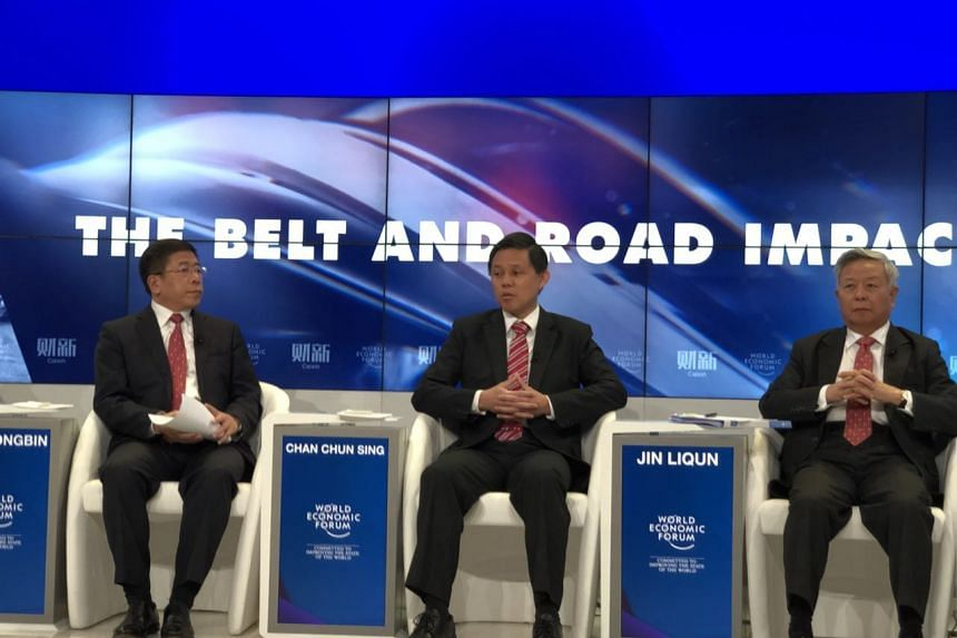 Minister in the Prime Minister's Office Chan Chun Sing speaking at a panel discussion on the One Belt One Road initiative at the World Economic Forum, in Davos, Switzerland, on Jan 24, 2018.