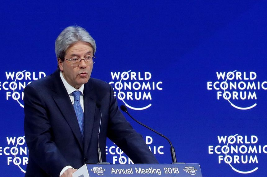 Italian PM Paolo Gentiloni speaking at the World Economic Forum in Davos, Switzerland, on Jan 24, 2018.