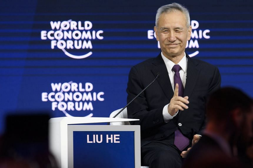 Chinese Communist Party Central Committee member Liu He addressing participants at the 48th annual meeting of the World Economic Forum, in Davos, Switzerland, on Jan 24, 2018.