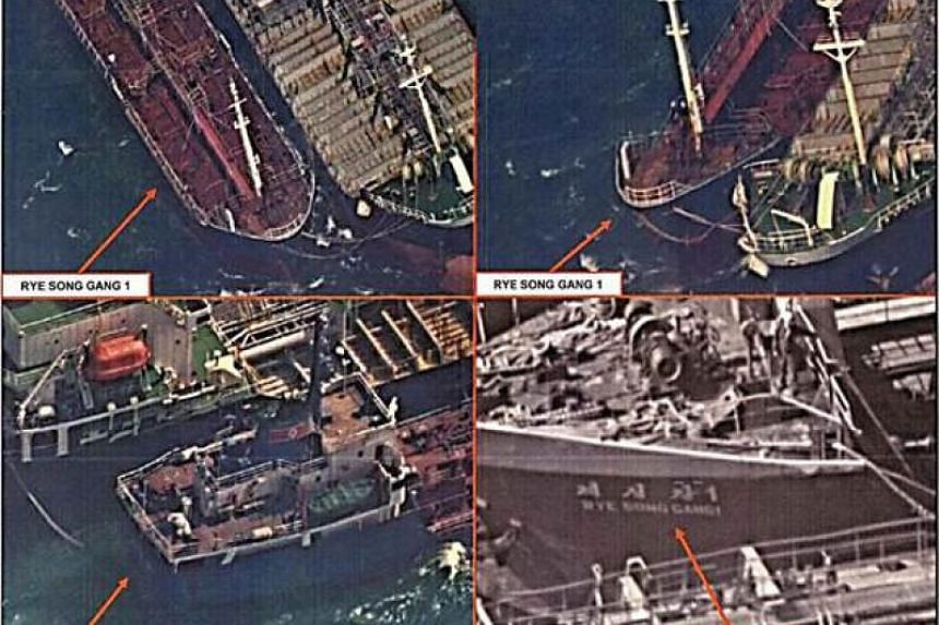 A Japanese patrol spotted the North Korean ship Rye Song Gang 1 (pictured, on Oct 19, 2017), involved in an alleged cargo transfer with the tanker Yuk Tung.