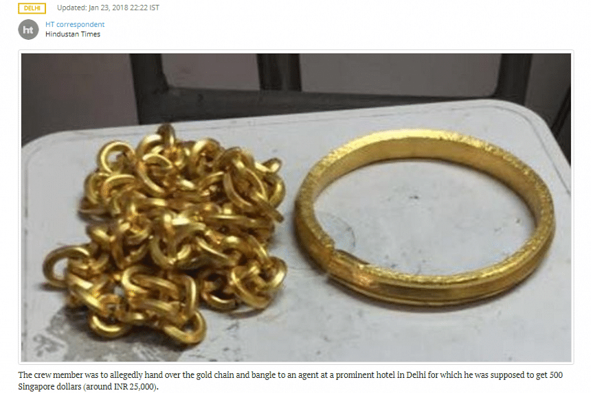 The crew member wore the gold items - a chain and a bangle - under his uniform.