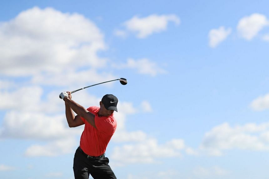 Tiger Woods warms up on the range prior to the final round of the Hero World Challenge at Albany in Nassau, Bahamas, on Dec 3, 2017.