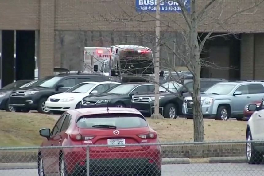 The scene of shooting in Marshall County High School is seen on Jan 23, 2018, in this still image obtained from Reuters TV.