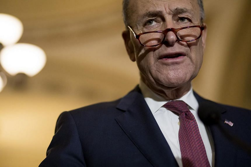 """Senator Chuck Schumer of New York, told reporters at the Capitol that """"the wall offer's off the table""""."""