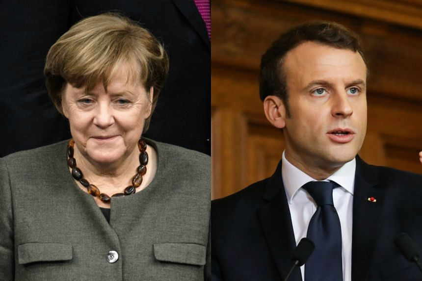 French President Emmanuel Macron (right) will drive for a 'renaissance' in French and world business while German Chancellor Angela Merkel needs to settle her own leadership problems.