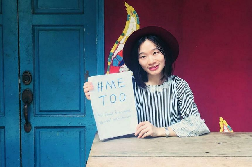 Sophia Huang Xueqin holding up a sign saying #MeToo in the city of Guangzhou, an image she shared on social media in November 2017.