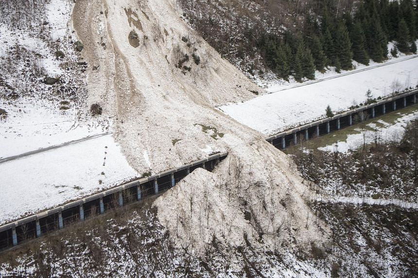 An avalanche hit Gurtnellen in the canton of Uri, Switzerland, on Jan 23, 2018.