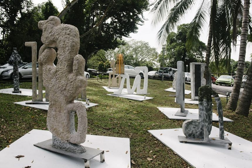 A set of 10 outdoor sculptures by Singaporean artist nabilah Nordin, titled glup plunc glerp thint than nurp earm tinn gamp shtert. Each sculpture corresponds to one of these gibberish sounds.