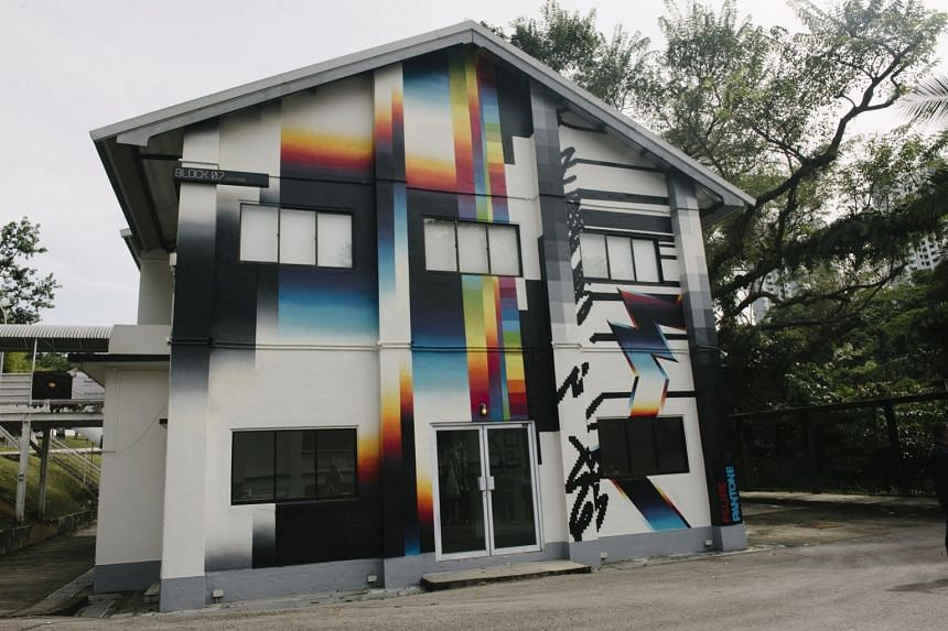 A Spanish/Argentinean artist's piece, Chromodynamica for Singapore, decks a building in Gillman Barracks with colour.