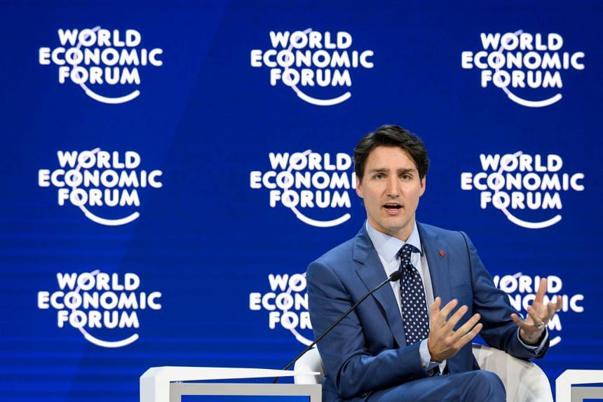 Canadian Prime Minister Justin Trudeau delivering a speech during the World Economic Forum 2018 annual meeting on Jan 23, 2018 in Davos, eastern Switzerland.