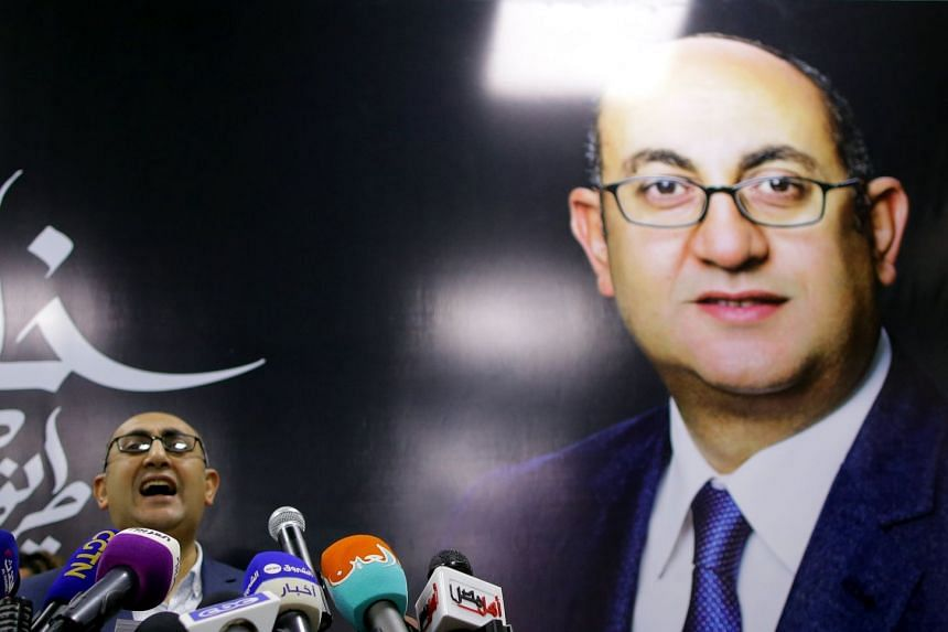 Egyptian human rights lawyer Khaled Ali speaks during a press conference in Cairo, Jan 24, 2018.