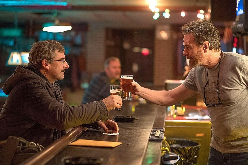 Bryan Cranston (right) and Steve Carell star in Last Flag Flying as Vietnam veterans, one dealing with a son's body after his death in the Iraq War.