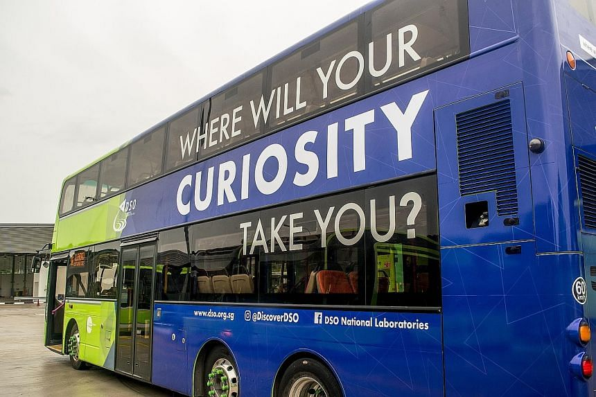The questions are plastered on the backs of seats on the upper deck of a Tower Transit Singapore bus plying the service 96 route, which loops around the National University of Singapore from Clementi Bus Interchange.