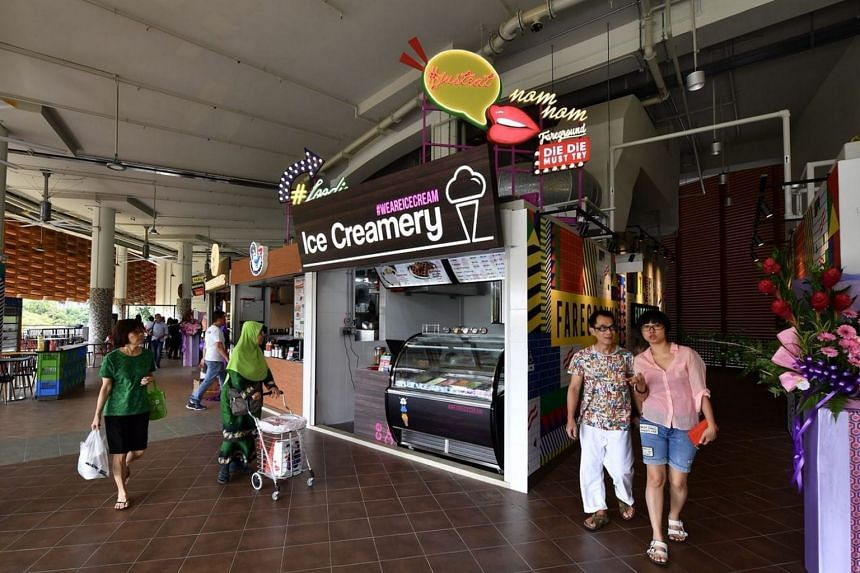 Twenty stalls on the ground floor sell popular local dishes, while 22 stalls on the second floor (above) offer cuisines such as rice bowls with wagyu beef and Thai boat noodles.