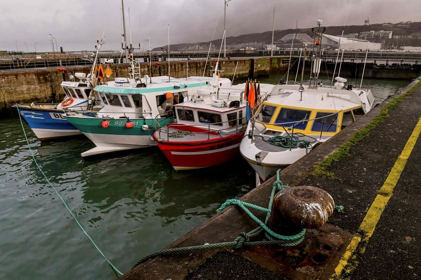 Fishing boats blocking access to the harbour of Boulogne-sur-Mer on Jan 25, 2018.
