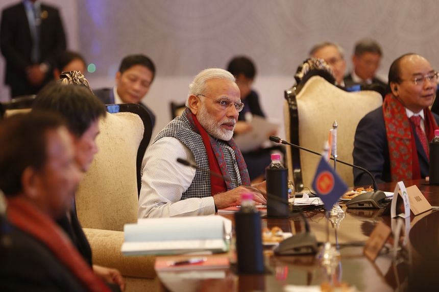 Prime Minister Narendra Modi giving his opening speech at the Asean-India commemorative summit in New Delhi on Jan 25.