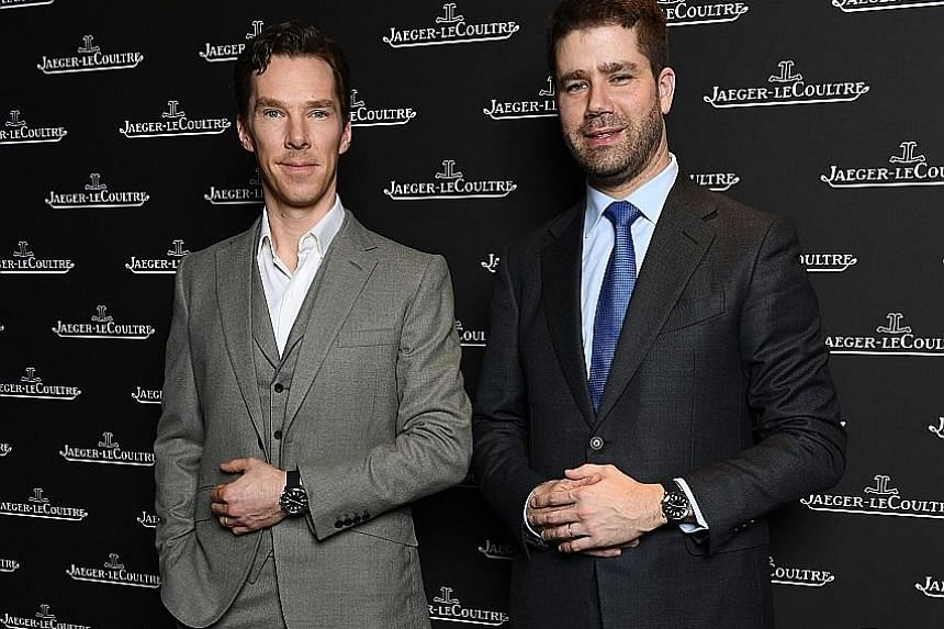 The IWC booth at the Salon International de la Haute Horlogerie, which was held in Geneva last week. Jaeger-LeCoultre deputy CEO Geffroy Lefebvre (right) with brand ambassador Benedict Cumberbatch.