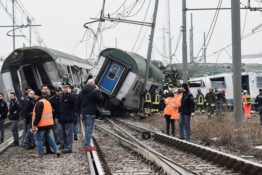 The accident occurred early in the morning near Segrate in Milan's north-eastern suburbs, and many of the passengers were on their way to work or were students.