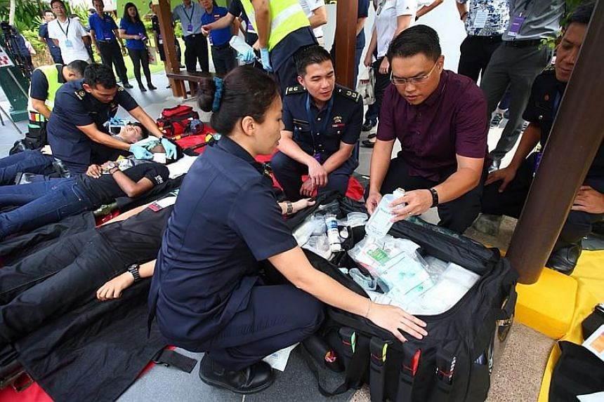 MP for West Coast GRC Patrick Tay, who observed the exercise, said it is important for Home Team agencies, business stakeholders and the public to work together to tackle potential threats.