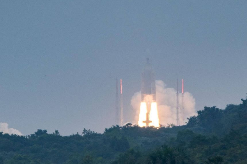 An Ariane 5 rocket blasts off from the Kourou Space Centre (Europe spaceport) carrying four Galileo satellites, on Dec 12, 2017.