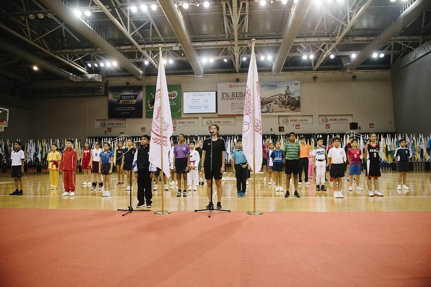 Student-athletes taking an oath during the opening ceremony of the National School Games, at OCBC Arena, on Jan 24, 2018.