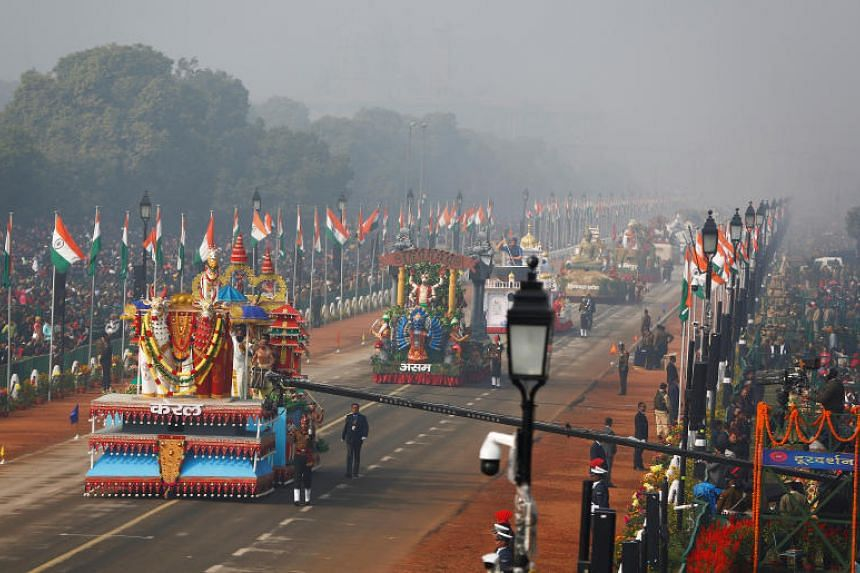 Floats on display during the Republic Day parade in New Delhi on Jan 26.
