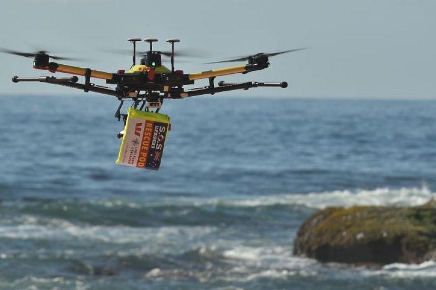 A shark-spotting drone flying over Bilgola Beach in northern Sydney on Dec 10, 2017.