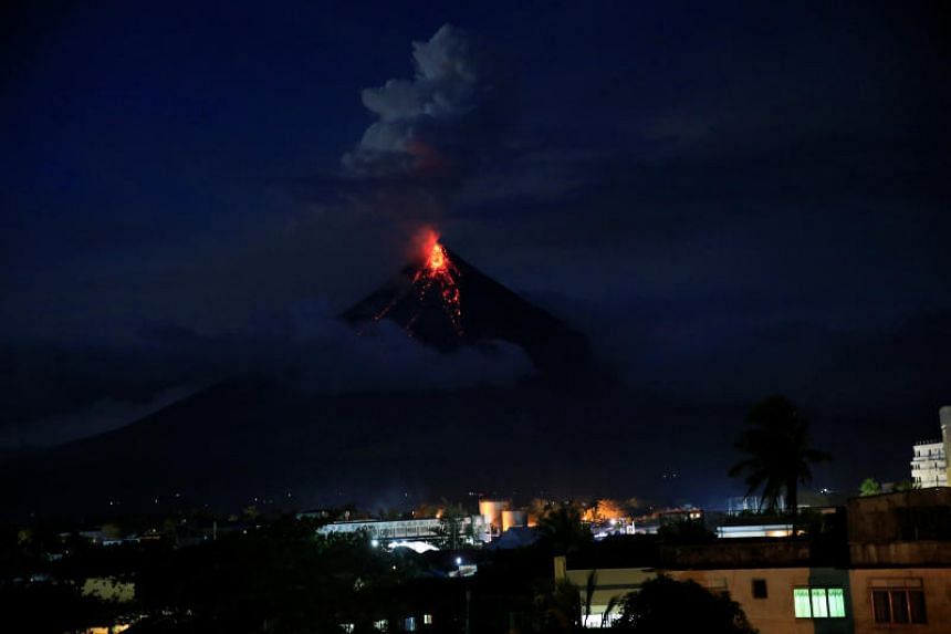 Mount Mayon during a new eruption in Legazpi, the Philippines, on Jan 25.