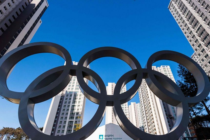 The Olympic Rings at the Olympic Village on January 25, 2018 in Gangneung.