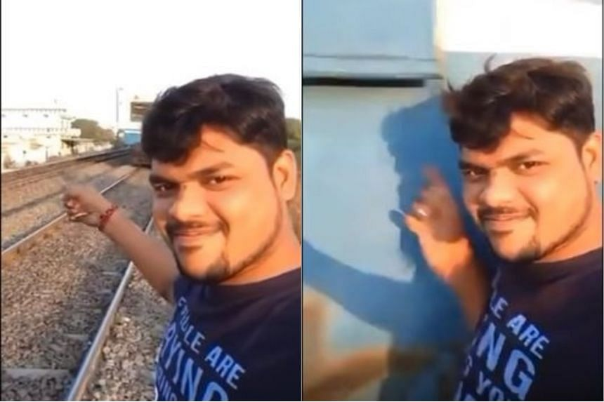 The 25-year-old was filming on his mobile phone at Borabanda Railway Station when he was hit by an incoming train.