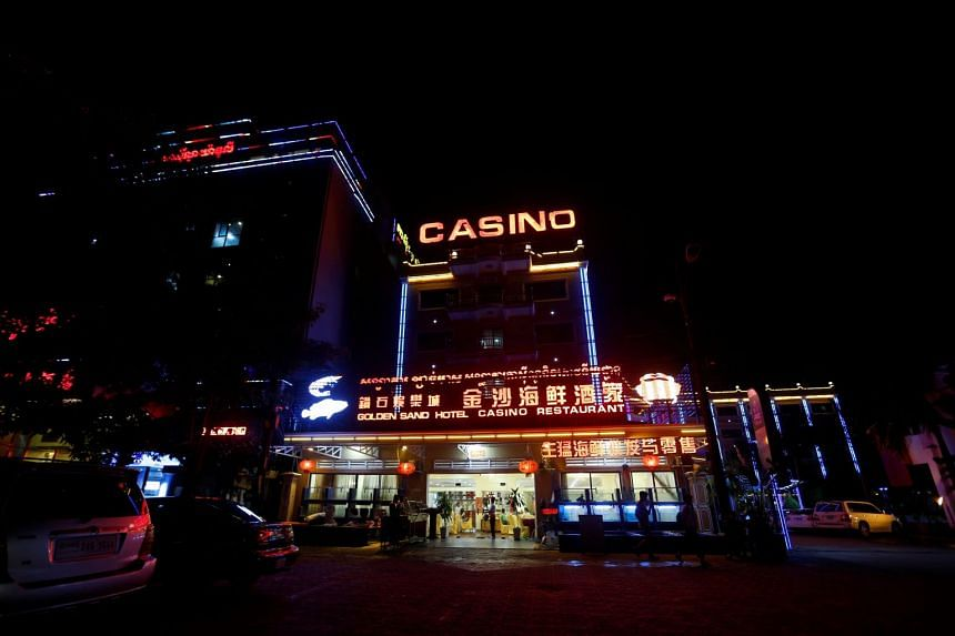 A building housing a Chinese restaurant, hotel and casino in Sihanoukville, Cambodia.