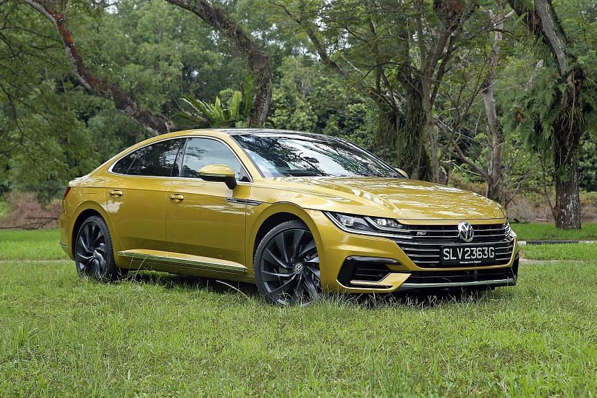 The cockpit of the Volkswagen Arteon is replete with trim and features found in a luxury model, such as a 9.2-inch infotainment touchscreen with gesture control and simulated carbon-fibre panels.