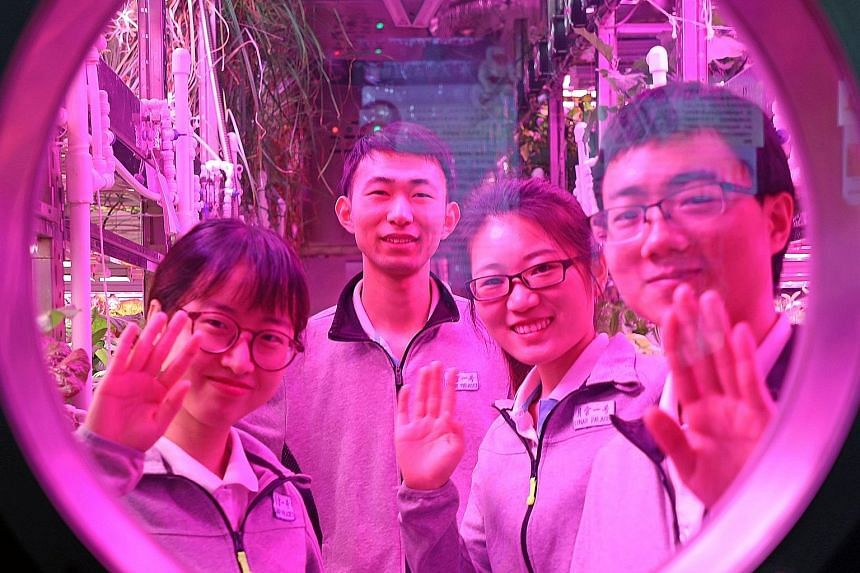 The four Chinese students in the Yuegong-1, or Lunar Palace, on the campus of Beihang University in Beijing. They spent 200 continuous days in the sealed 160 sq m cabin to simulate a long-term space mission, and had no input from the outside world.