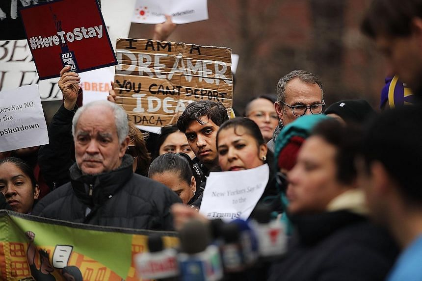 Demonstrators, many of them recent immigrants to America, protesting against the government shutdown and the lack of a deal on the Deferred Action for Childhood Arrivals programme, outside Federal Plaza in New York on Monday.