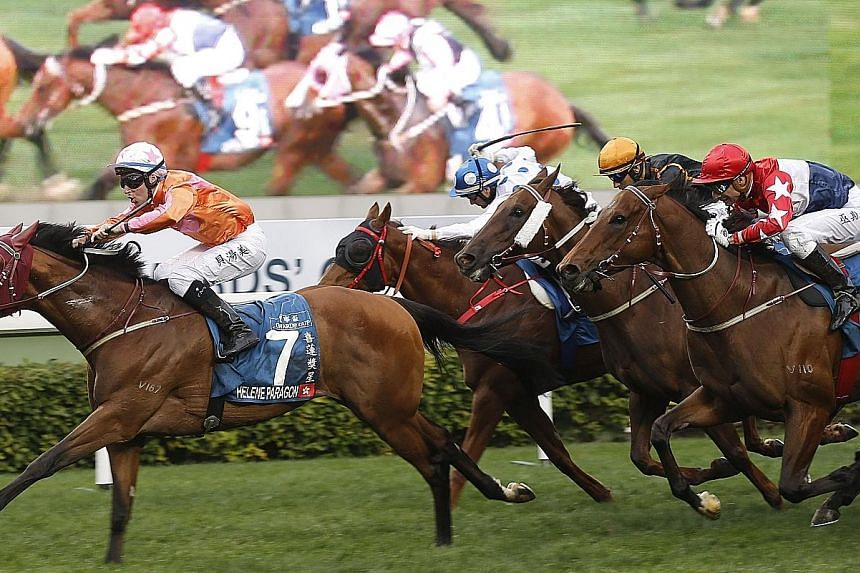 Helene Paragon winning last year's Group 1 Stewards' Cup in style and is back in form to defend his title at Sha Tin tomorrow.