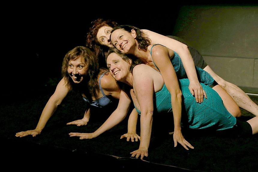 The actresses share a seamless camaraderie in the play, which is set in a mud pit and interweaved with snatches of song.