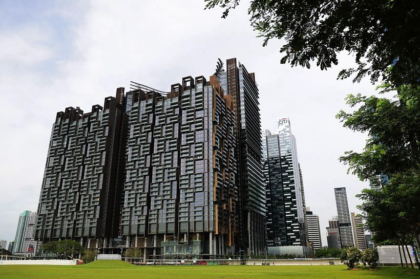 A key design feature of Marina One is the curved levels that look like rice terraces in Asia. Nestled at the bottom of the four tall buildings of Marina One (above) is a lush wooded landscape resembling a green valley.