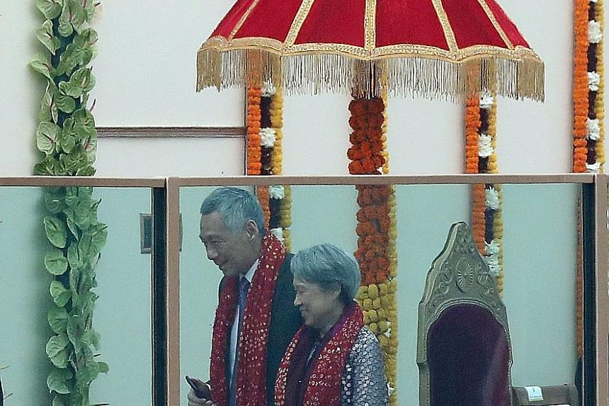 Prime Minister Lee Hsien Loong and Mrs Lee arriving for the Republic Day celebration yesterday. Mr Lee and the other nine Asean leaders were the chief guests at the parade, an honour reserved for countries that India is keen to cultivate and consider