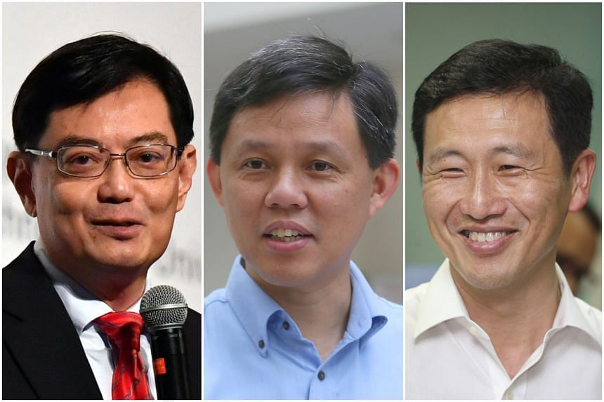The race to be Singapore's next prime minister is viewed by observers as having narrowed to three candidates: (from left) Finance Minister Heng Swee Keat, Minister in the Prime Minister's Office Chan Chun Sing and Minister for Education (Higher Educa
