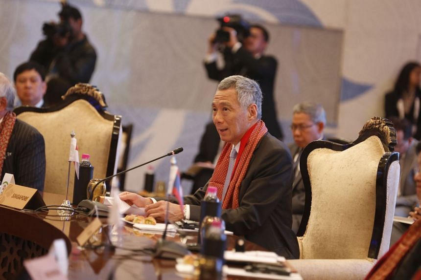Prime Minister Lee Hsien Loong giving his speech at the Asean-India Commemorative Summit 2018, held at the Taj Diplomatic Enclave in New Delhi, India.