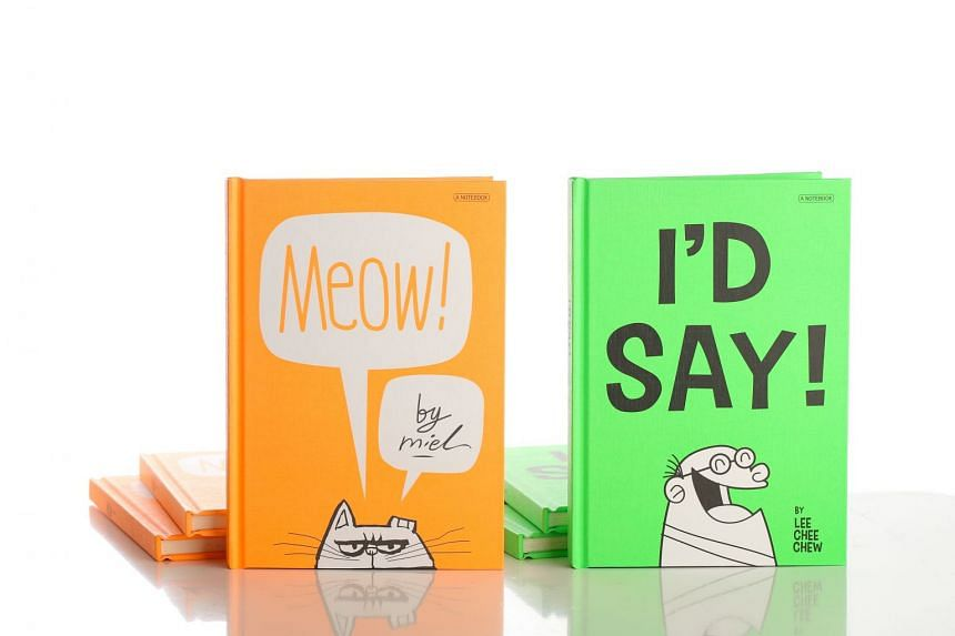 Meow and I'd Say notebooks by Straits Times artists Miel and Lee Chee Chew respectively.
