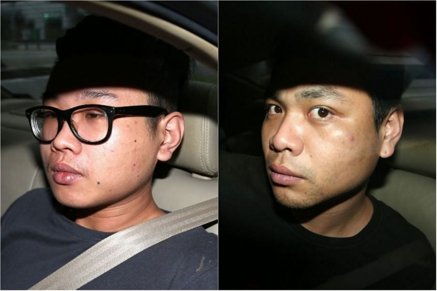 Lin Meng-jie (left) and Kuan Cheng-yu are accused of one count each of being involved in a conspiracy to dishonestly receive stolen property.